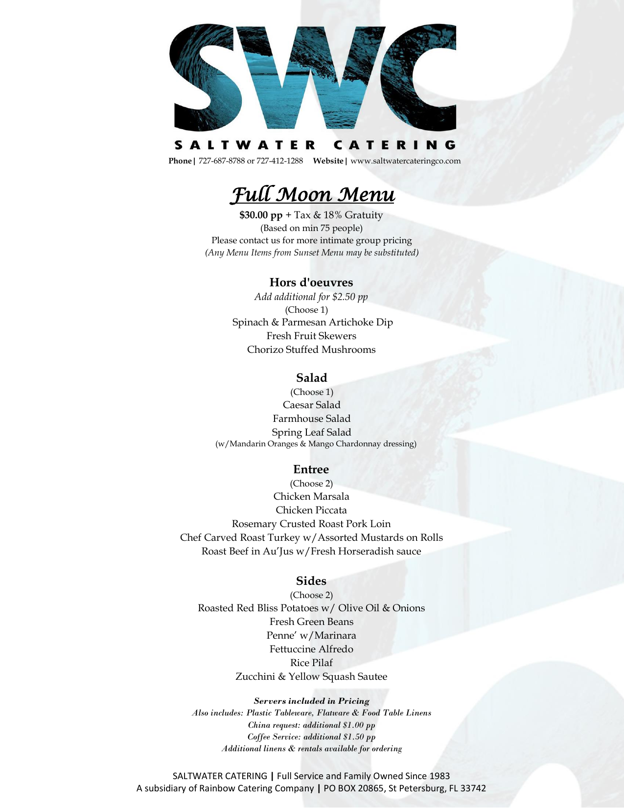 Full Moon Menu